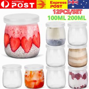 12PCS 200ML Glass Pudding Jars Glass Jar For Yogurt Milk Parfait With Lid Cap AU