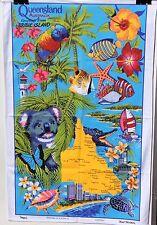 Cotton Souvenir Tea Towel  UNUSED Bribie Is QLD WREN Tropical Fish Flowers