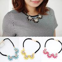 Fashion Jewelry Crystal Flower Necklace Choker Bib Statement Chunky Collar Chain