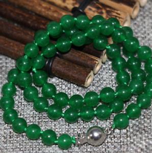 "HOO Beautiful Green Jade 12mm Round Beads Necklace 18"" AAA"
