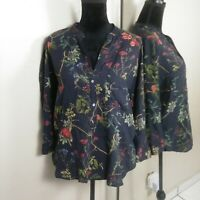 Zara Woman Floral Popover Blouse Top Womens size Medium Navy Blue