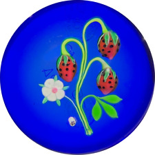 Baccarat 1974 Flamework Flowering Strawberries On Blue LE Glass Art Paperweight