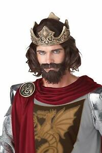 Medieval King Wig & Beard Brown Fancy Dress Up Halloween Adult Costume Accessory