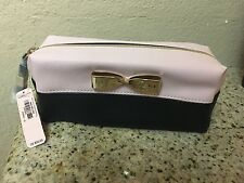 Victoria's Secret Pink Black Cosmetic bag Makeup W/ Gold Bow BNWT 7x3x3 1/4