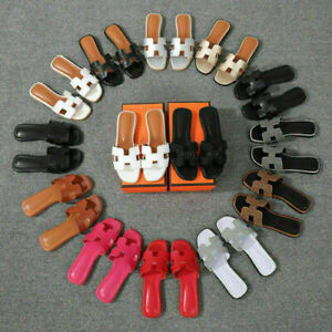 Hot! Women Oran Flat Beach Sandals Slippers H Leather Sandals Slip On Sliders