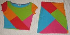 Vintage 80's Bright Colors Geometric Stretch Shirt & Skirt Set~Juniors Sz Small