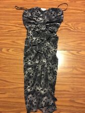NWT BeBe Leopard Bustier Pencil Dress Skinny Size Small. Gray Ruffle Strapless