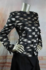 $3990 New AKRIS Black Gray Silver Embroidered Art Weave Luxurious Jacket 38 8