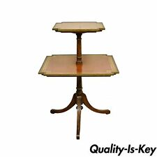 Vintage English Mahogany Tooled Leather Top Dumbwaiter Two Tier Accent End Table