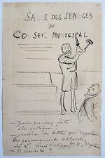 Petit dessin original de HENRIOT (1857-1933) vers 1890 humour politique