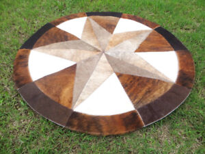 """Star Cowhide Rug Cow Hide Skin Carpet Leather Round patchwork S83 area 40"""""""
