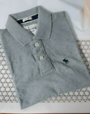 New Abercrombie & Fitch Men Short Sleeves Polo Tee Muscle Fit Heather Grey L
