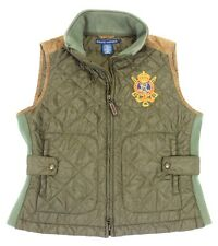 Ralph Lauren Vest Crest Olive Green Suede Puffer Bubble Full Zip Womens Sz Large