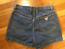 "Guess Vintage High Rise Blue Denim Jeans USA 32 12"" Rise 2"" Inseam Shorts"
