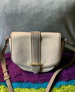 Kate Spade Porcelain Leather Light Gray Suede Trim Flap Snap Shoulder Bag