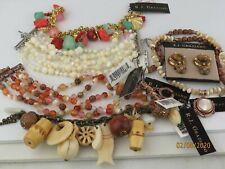 R.J.Graziano gold tone stones Charm CARNELIAN MOP Bracelet, earrings, necklace