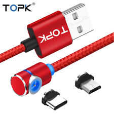 TOPK L-Line 90° Magnetic LED 1M Charge Cable For Type C & Micro USB Samsung S9+