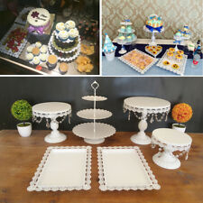 Set of 6 Crystal White Metal Cake Holder Cupcake Stand Wedding Party Display New