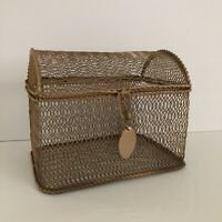 """Gold Tone Metal Steel Brass Mesh Cage Jewelry Trinket Box Hinged Rounded Lid 6""""w"""