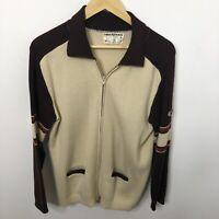 Vintage White Ram HIPSTER Wool Men Medium Sweater Jacket Curling 70's