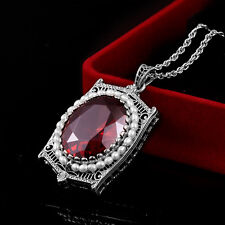 Authentic Sterling Silver Pendants Red Garnet Gem Necklace Pendant Natural Pearl