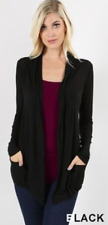 Women's Semi Sheer Long Sleeve Open Front Draped Cardigan Light Cover-up RT-1747
