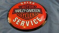 VINTAGE HARLEY DAVIDSON MOTORCYCLE PORCELAIN GAS OIL SERVICE PUMP PLATE SIGN