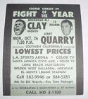 Original Vintage 1970 Muhammad Ali v Jerry Quarry Boxing Fight Flyer Hand Bill