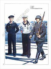 PLANCHE UNIFORMS PRINT WWII Kriegsmarine marine de guerre Allemagne Submarine
