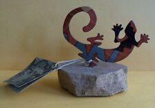 Lazart Nwt Painted Metal Gecko, On Stone