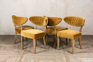 SET OF 4 MUSTARD YELLOW VELVET UPHOLSTERED DINING CHAIRS CURVED DIAMOND STITCH