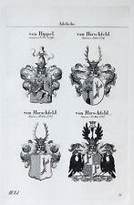 1836 4 Wappen von Hippel Hirschfeld Kupferstich Tyroff
