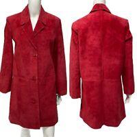 Bernardo women's long Suede leather outerwear jacket coat red  buttons size S