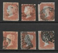 1854 Queen Victoria Collection of 6 IMPERF 1d. Red Stamps  Used GREAT BRITAIN