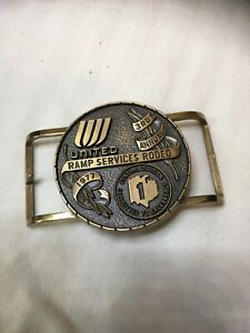 Rare Vintage United Airlines Ramp Services Rodeo Brass/Bronze Belt Buckle 1977