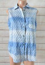 Katies Button Front Shirt Blouse Size 10 Blue White Sleeveless Cotton