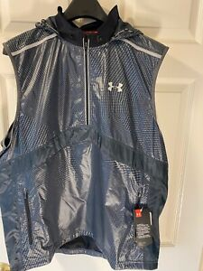 Under Armour Mens Hooded Running Vest Reflective Gray Large