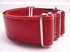"""1.5"""" RED LEATHER GREYHOUND MARTINGALE DOG COLLAR"""