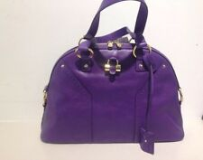 YSL YVES SAINT LAURENT LARGE MUSE DOME PURPLE VIOLET LEATHER PURSE HANDBAG RARE