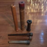 Wooden Quills, Bobbins Spools, Spindles, Industrial, Lot of 6, Various Sizes