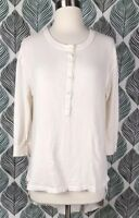 The GREAT. Current Elliot Ivory Distressed Hem 3/4 Sleeve Roundtail Size 0 XS