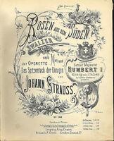 """"""" Rosen aus dem Süden """"  von Johann Strauss , übergroße, alte Noten"""