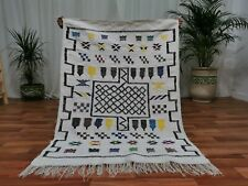 Moroccan Geometric Handmade wool carpet 3'x5' Berber Nomad Sahara wool Rug White