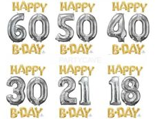Happy Birthday Party Phrase Gold Silver Foil Balloon 18th 21st 30th 40th 50th 60