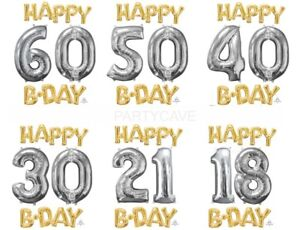 Happy Birthday Party Gold Silver Foil Balloon 18 21 30 40 50 60 Airfill Only