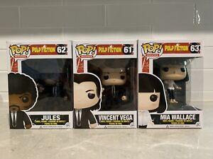Pulp Fiction Funko! Pop Vinyl Set Of 3 RARE Vincent Vega, Jules, Mia Wallace