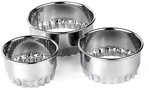 3 Piece Crinkled Pastry Cutters - ideal for tarts flans egg custards