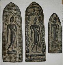 Antique Thai Walking Buddha Votive Plaques 3-(Lot) Sukhothai Ayutthaya Period
