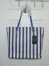 Furla Women Striped Canvas/Leather Trim Tote Bag Made Italy Blue/Beige
