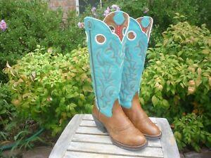 Womens 6.5 B Tony Lama Brown & Blue Tall Buckaroo Round Toe RR2002L Cowboy Boots